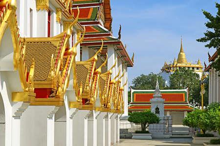 Stunning Exterior of Wat Ratchanatdaram Temple with Phu Khao Thong (Golden Mount) Pagoda in Afar, Bangkok Old City, Thailand