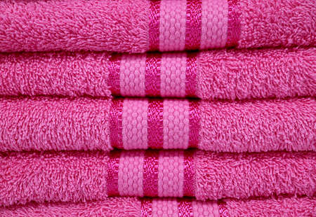 Front View of Fuchsia Pink Fluffy Towels Stack