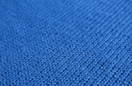 Closeup of Cobalt Blue Knitted Wool Fabric Texture for Abstract Background Imagens