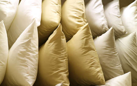 Rows of Classic Golden Beige Tone Pillows