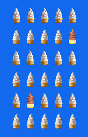 Vertical Image of Rows of Two Types Soft Serve Ice Cream Cones Pattern on Cobalt Blue Background Imagens