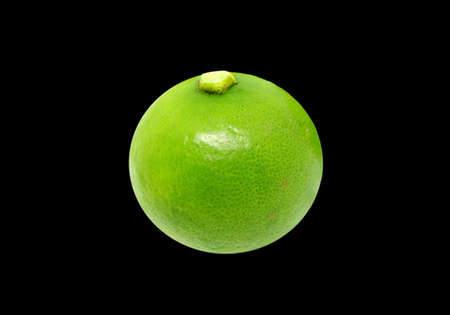 Closeup a Vibrant Green West Indian Lime Isolated on Black Background