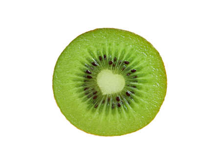 Closeup an unique cross-section of fresh ripe kiwifruit isolated on white background Imagens