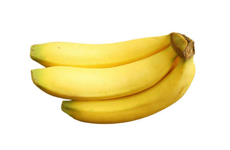 A half hand of fresh ripe banana isolated on white background