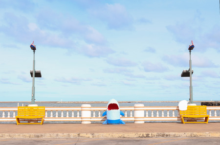 Two yellow wooden chair and shark on the Sea  photo