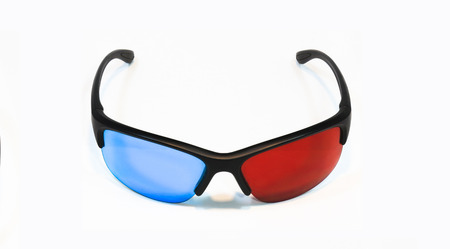 stereoscopic: 3d glasses on white background