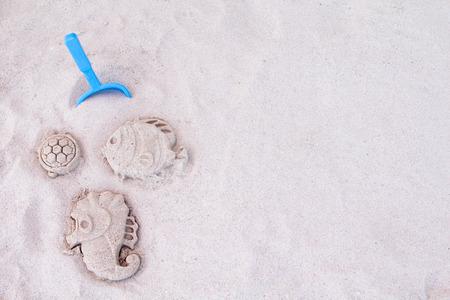 sand mold: Theseahorsefishturtel mold  on the sandy
