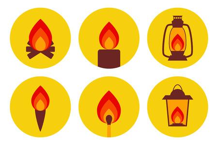 illuminating: Fire illuminating devices icon set
