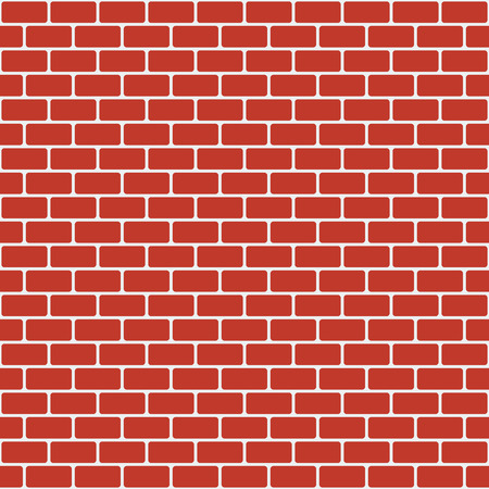 Seamless vector brick wall background: rounded red bricks on white backdrop Vector Illustration