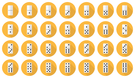 Vector flat icon set: double-six (28 pieces) dominoes in yellow circles