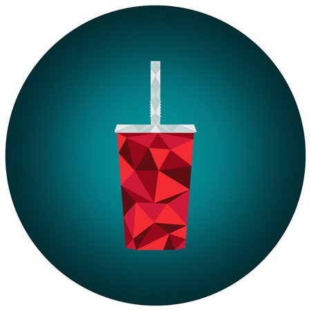 Vector polygonal illustration: low poly triangular red cup of cola with drinking straw