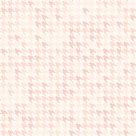 Rose houndstooth pattern. Seamless vector with pink ornament on light backdrop