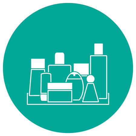 Line art vector illustration: bathroom shelf with cosmetic bottles, flasks and jar on teal background