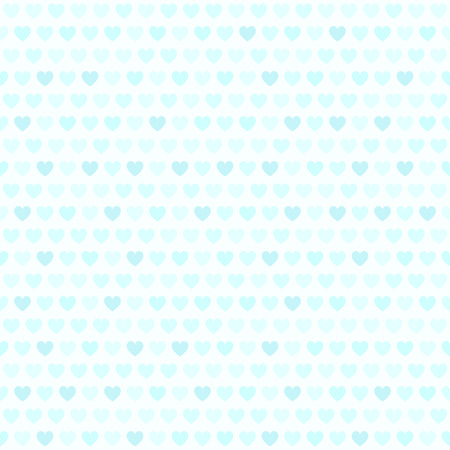 affairs: Cyan heart pattern. Seamless vector background: cyan hearts on light blue backdrop