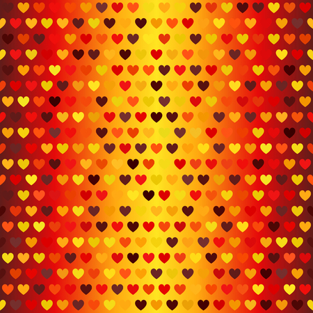 Heart pattern. Seamless vector. Glowing background with maroon, red, orange, gold, yellow hearts on gradient backdrop