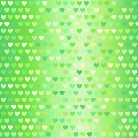 Heart pattern. Vector seamless background: green hearts on gradient backdrop Ilustrace