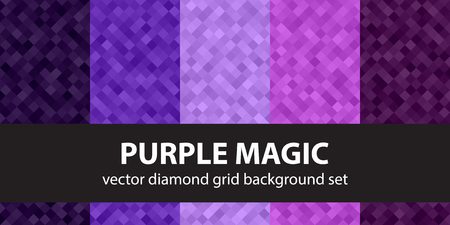 Diamond pattern set Purple Magic. Vector seamless geometric backgrounds with amethyst, lavender, plum, purple, violet diamonds Illustration
