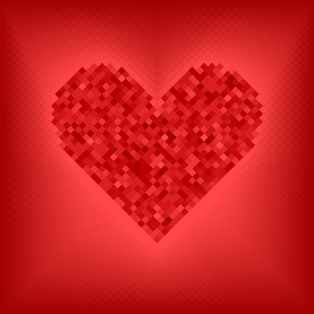 Diamond grid vector illustration: red heart, made of diamonds, on rose and red background Illustration