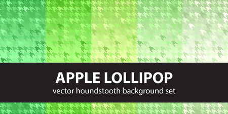 Houndstooth pattern set Apple Lollipop. Vector seamless backgrounds with green ornaments on gradient backdrops