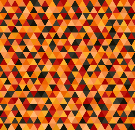 jonquil: Triangle pattern. Seamless vector background with red, peach, black, orange, pumpkin equilateral triangles