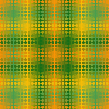 metal mesh: Glowing dot pattern. Vector seamless background with green, orange and yellow dots on gradaient backdrop Illustration