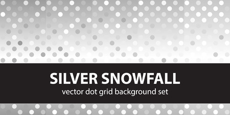 Polka dot pattern set Silver Snowfall. Vector seamless geometric dot backgrounds with gray and white spots on gradient backdrops Ilustrace