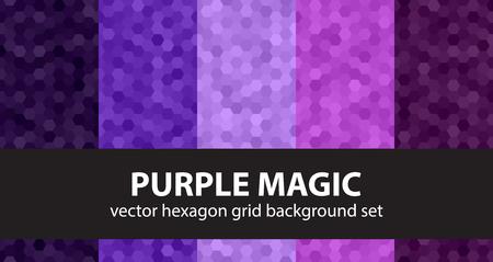 Hexagon pattern set Purple Magic. Vector seamless backgrounds with amethyst, lavender, plum, purple, violet hexagons