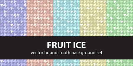Houndstooth pattern set Fruit Ice. Vector seamless backgrounds with violet, rose, cyan, yellow, green shapes on colored backdrops Illustration