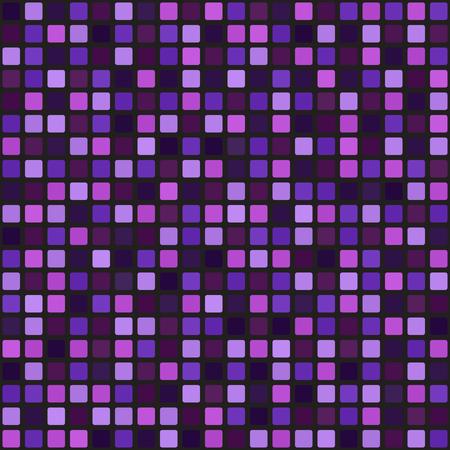 正方形のパターン。シームレスなベクトルの背景: アメジスト、ラベンダー、梅、黒の背景に紫、すみれ色の角丸正方形