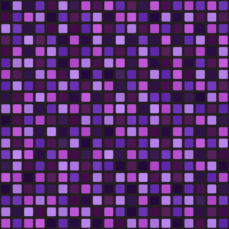 Square pattern. Seamless vector background: amethyst, lavender, plum, purple, violet rounded squares on black backdrop Иллюстрация