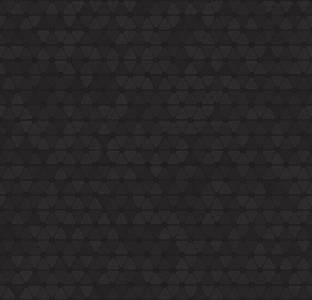 pattern: Dark pattern. Vector seamless geometric background with rounded triangles on black backdrop.