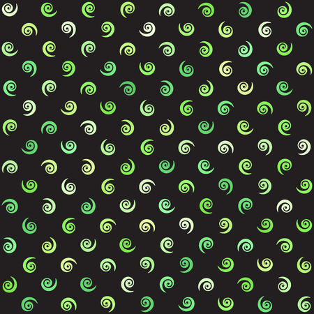 volute: Spiral pattern. Vector seamless background with green vortexes on black backdrop.