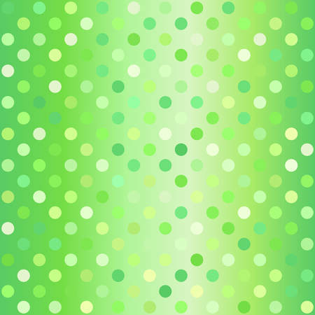 Polka dot pattern. Vector seamless dot gradient background with green circles on gradient backdrop.