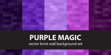 Rectangle pattern set Purple Magic. Vector seamless brick wall backgrounds with amethyst, lavender, plum, purple, violet rectangles