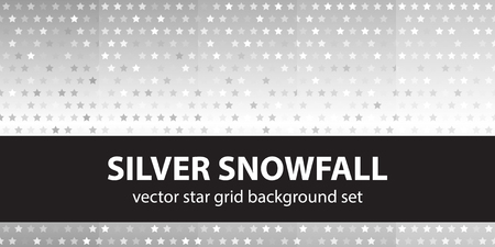 arsenic: Star pattern set Silver Snowfall. Vector seamless backgrounds with gray and white stars on gradient backdrops