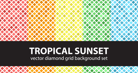 Diamond pattern set Tropical Sunset. Vector seamless patterns: red, orange, yellow, green, blue rounded diamonds on white backdrops
