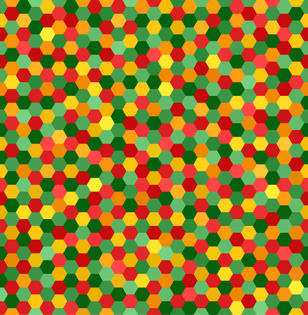 Hexagon pattern. Seamless vector background with red, light green, yellow, green, orange hexagons