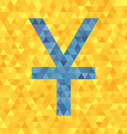 Polygonal vector triangle grid illustration: low-poly blue yenyuan symbol with single stroke on yellow background