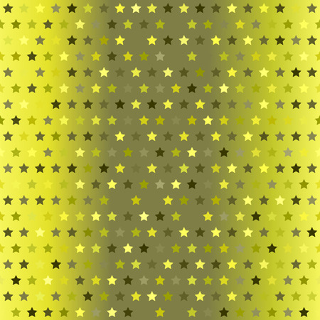 Star pattern. Vector seamless background with yellow, olive, yellow-green, khaki five-pointed stars on gradient backdrop