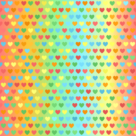 Heart pattern. Seamless glowing vector background with red, orange, yellow, green, blue hearts on multicolor gradient backdrop