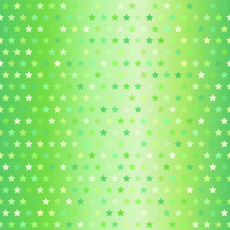 Star pattern. Vector seamless background with green stars on gradient backdrop Illustration
