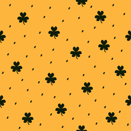 dashes: Shamrock pattern. Seamless clover vector dashed background: dark green clover leaves and dashes on yellow backdrop Illustration
