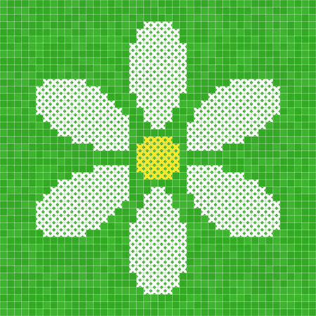 Vector grid illustration: cross-stitched camomile flower with yellow center and white petals on green background Illustration
