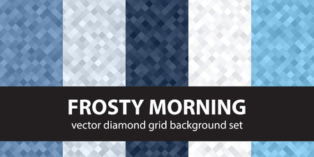 grey background texture: Diamond pattern set Frosty Morning. Vector seamless geometric backgrounds with blue, gray and white square diamonds Illustration