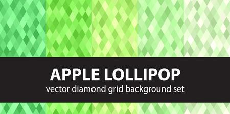 Diamond pattern set Apple Lollipop. Vector seamless geometric backgrounds with green diamonds Çizim
