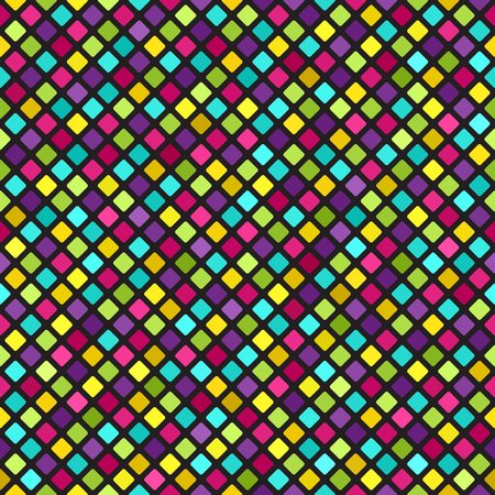 Diamond pattern. Vector seamless background: cyan, yellow, rose, green, violet rounded diamonds on black backdrop