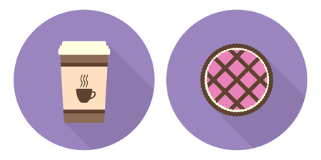 Flat vector illustration set: cup of coffee and pie on violet backdrops Illustration