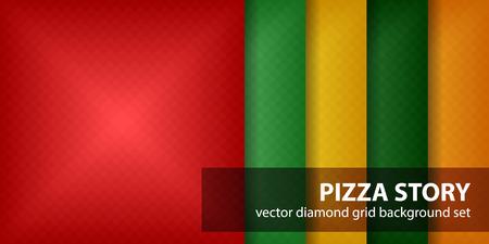 Diamond pattern set Pizza Story geometric backdrop with red, light green, yellow, green and orange square diamonds. Illustration