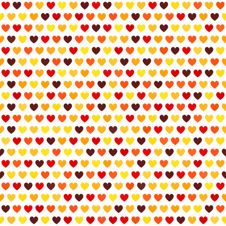 affair: Heart pattern love backdrop: maroon, red, orange, gold, yellow hearts on white backdrop