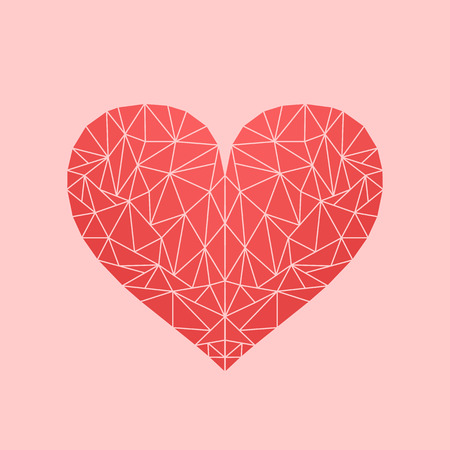 Polygonal low-poly mosaic heart on rose backdrop